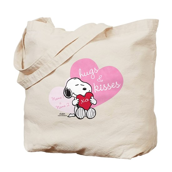 Snoopy Hugs And Kisses Personalized Tote Bag