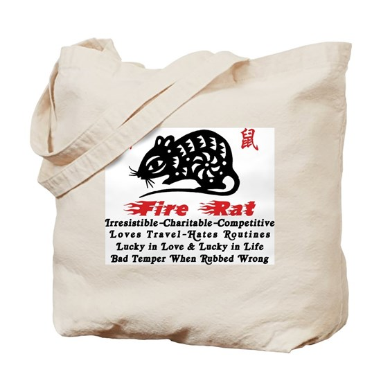 Chinese Zodiac Fire Rat Tote Bag