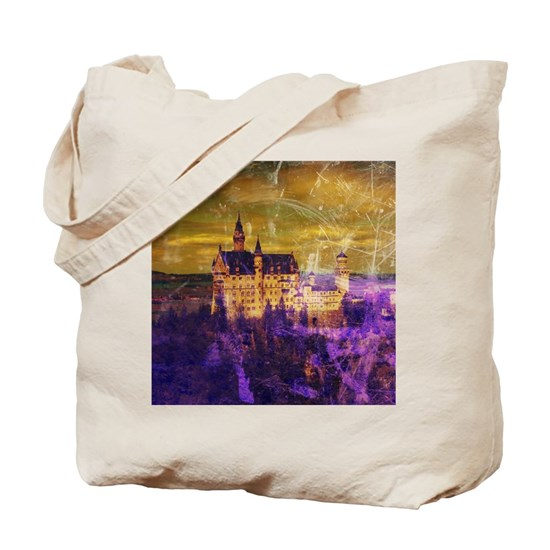 Yellow Purple Neuschwanstein Castle Tote Bag by Christine aka stine1 on Cafepress
