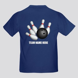 Personalized Team Bowling Kids Dark T-Shirt