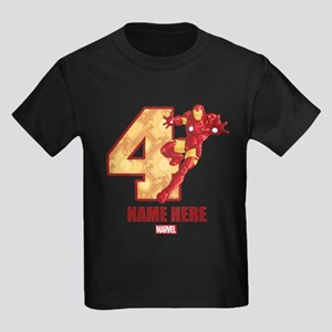 Personalized Iron Man Age 4 Kids Dark T-Shirt
