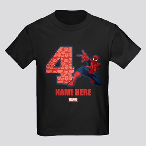 Spider-Man Personalized Birthday Kids Dark T-Shirt