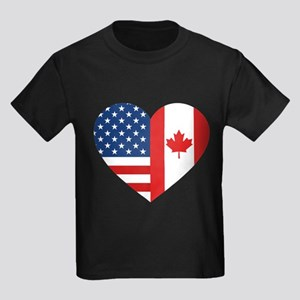 Canadian American Flag Love Kids Dark T-Shirt
