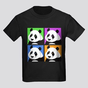 Panda Bear Squares Kids Dark T-Shirt