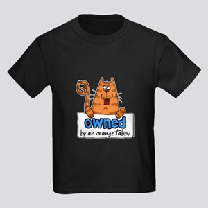 owned by an orange tabby Kids Dark T-Shirt