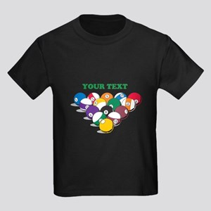 Personalized Billiard Balls Kids Dark T-Shirt
