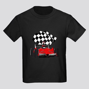 Red Race Car with Checkered Flag T-Shirt