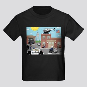 POLICE DEPARTMENT SCENE Kids Dark T-Shirt