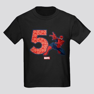 Spider-Man Birthday Age 5 Kids Dark T-Shirt