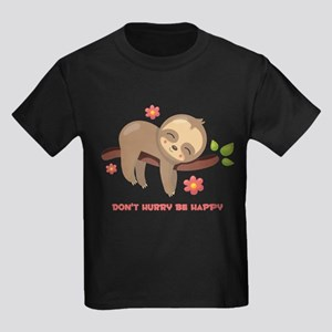 Don't Hurry Sloth Kids Dark T-Shirt