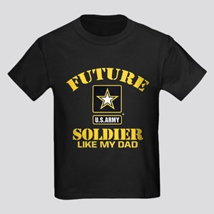 Future Army Soldier Like My Dad Kids Dark T-Shirt