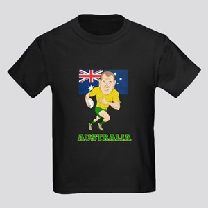 Rugby Player Australia Kids Dark T-Shirt