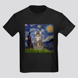 Starry Night & Tiger Cat Kids Dark T-Shirt