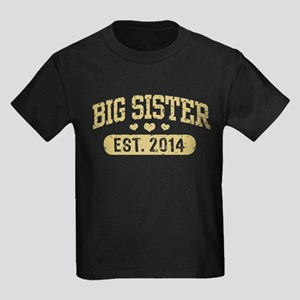 Big Sister Est. 2014 Kids Dark T-Shirt