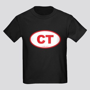 Connecticut CT Euro Oval RED Kids Dark T-Shirt
