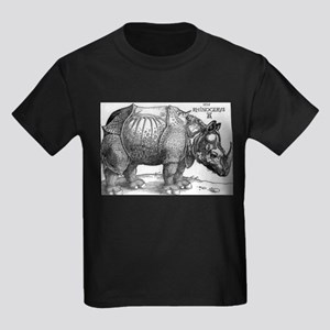 The Rhinoceros - Albrecht Durer - 1515 Kids Dark T