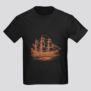 Vintage Clipper Ship Kids Dark T-Shirt