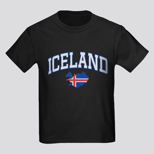 Iceland Map English Kids Dark T-Shirt
