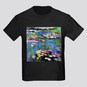 MONET WATERLILLIES Kids Dark T-Shirt