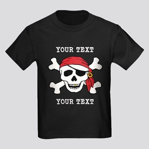 PERSONALIZE Funny Pirate Kids Dark T-Shirt