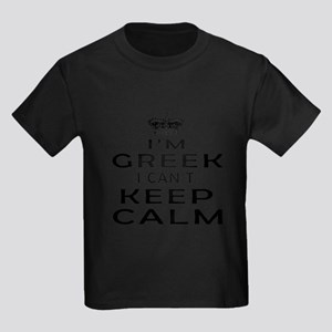 I Am Greek I Can Not Keep Calm Kids Dark T-Shirt