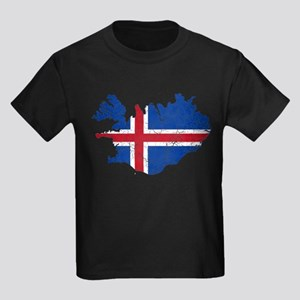 Iceland Flag And Map Kids Dark T-Shirt