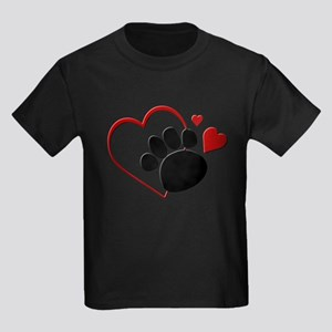 Dog Paw Print with Love Heart Kids Light T-Shirt