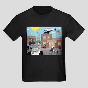 2711e927a POLICE DEPARTMENT SCENE Kids Dark T-Shirt