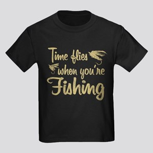 Time Flies When Fishing Kids Dark T-Shirt