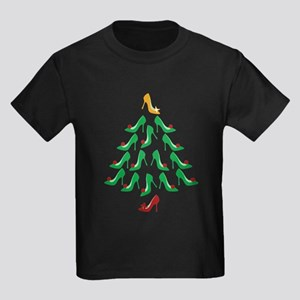 High Heel Shoe Holiday Tree Kids Dark T-Shirt