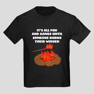 a808021c8 Someone Burns Wiener Kids Dark T-Shirt