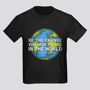 Be the Change - Earth - Green Vine Kids Dark T-Shi