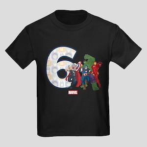 The Avengers Birthday Age 6 Kids Dark T Shirt