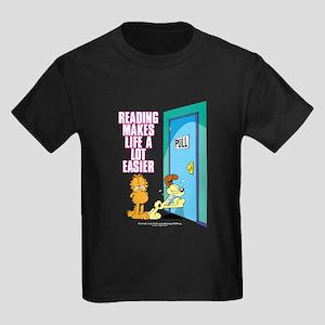 04b04b1304 Reading Makes Life Easier Kids Dark T-Shirt