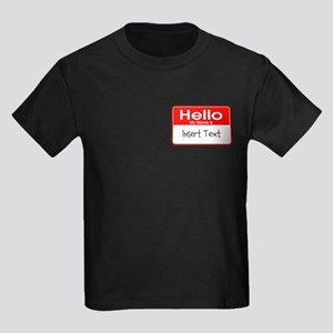 Personalized Hello Name Tag Kids Dark T-Shirt