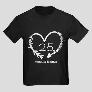Custom Anniversary Doodle Heart Kids Dark T-Shirt