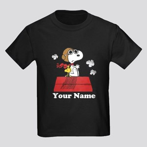 Peanuts Flying Ace Personalized Kids Dark T-Shirt