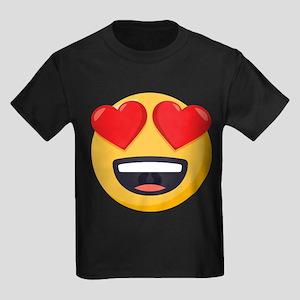 Heart Eyes Emoji Kids Dark T-Shirt