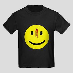 4-3-bulletholesmiley Kids Dark T-Shirt