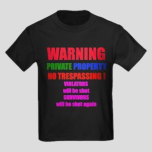 WARNING NO TRESPASSING Kids Dark T-Shirt