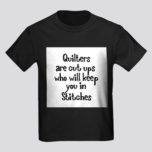 Quilters Keep You In Stitches Kids Dark T-Shirt
