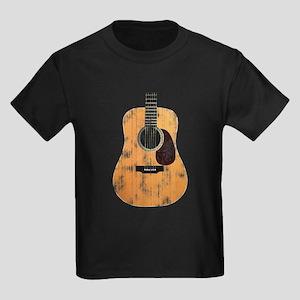 Acoustic Guitar (worn look) Kids Dark T-Shirt