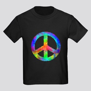 Multicolored Peace Sign Kids Dark T-Shirt