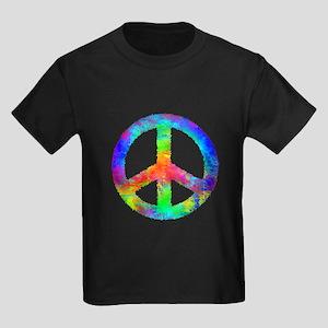 Multicolored Peace Sign Kids Dark T-Shirt