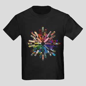 Skateboard Art Mandala Kids Dark T-Shirt