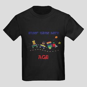 Personalized Birthday Train Kids Dark T-Shirt