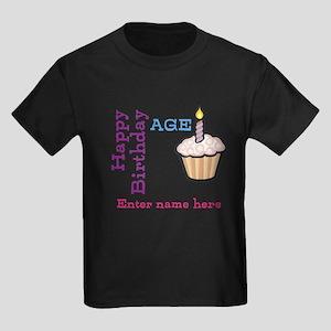 Personalized Birthday Cupcake Kids Dark T-Shirt