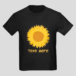 Sunflower. Custom Text. Kids Dark T-Shirt