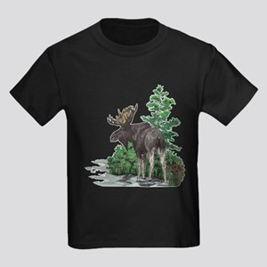 Bull moose art Kids Dark T-Shirt