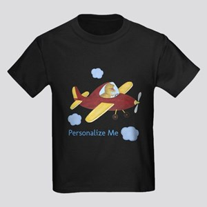 Personalized Airplane - Dinosaur Kids Dark T-Shirt